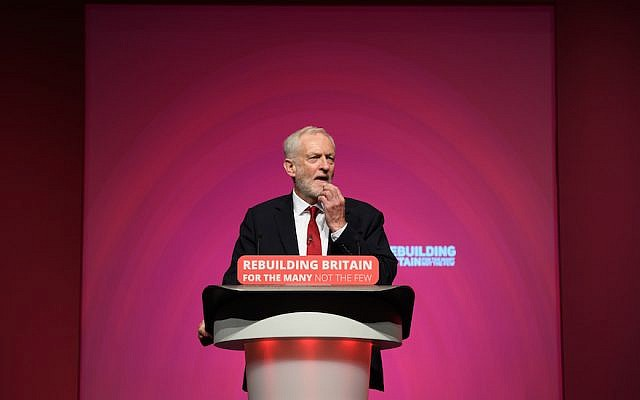 Labour Party leader Jeremy Corbyn addresses delegates at the Labour Party conference in Liverpool, England, September 26, 2018. (Leon Neal/Getty Images/via JTA)