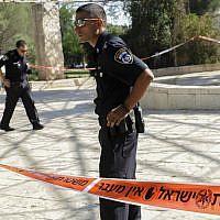Illustrative photo of police in the Liberty Bell Park in Jerusalem, July 24, 2013. (Zuzana Janku/Flash90)