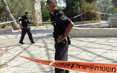Illustrative photo of police in the Liberty Bell Park in Jerusalem, July 24, 2013. (Zuzana Janku/Flash90)