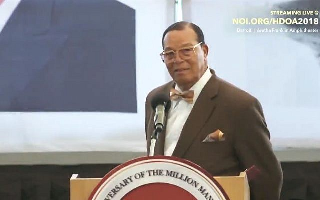 Nation of Islam leader Louis Farrakhan speaking on October 14, 2018, in Michigan. (Twitter screen capture)