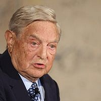 George Soros speaking in Berlin, September 10, 2012. (Sean Gallup/Getty Images via JTA)