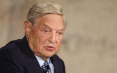 George Soros speaking in Berlin, September 10, 2012. (Sean Gallup/Getty Images via JTA)
