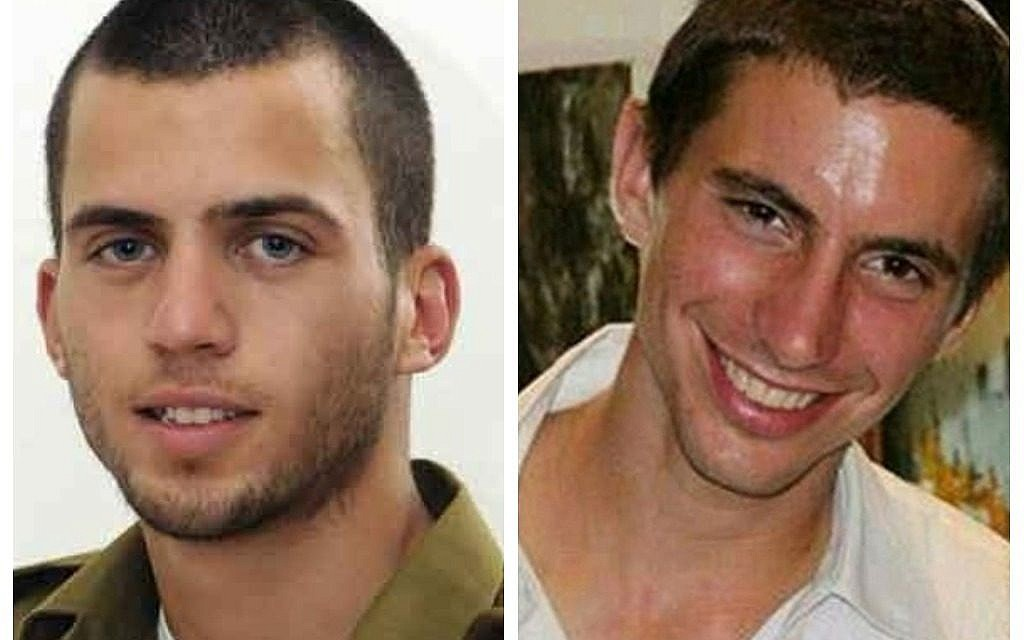 A composite photo of IDF soldiers Oron Shaul, left, and Hadar Goldin, right.