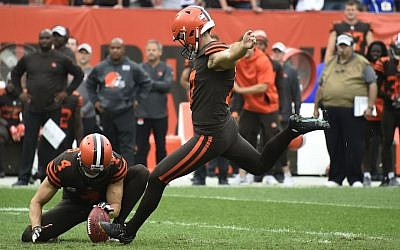 Greg Joseph #17 of the Cleveland Browns kicks the game winning field goal in overtime against the Baltimore Ravens at FirstEnergy Stadium on October 7, 2018 in Cleveland, Ohio. The Browns won 12 to 9. (Photo by Jason Miller/Getty Images via JTA)