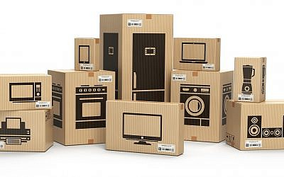 Illustrative image of household kitchen appliances and home electronics in boxes (Bet_Noire, iStock by Getty Images)