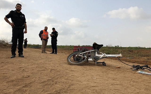 A man was killed October 19, 2018 when his electric bike was hit by an ATV near Moshav Berekhya (Police Spokesman's Unit)