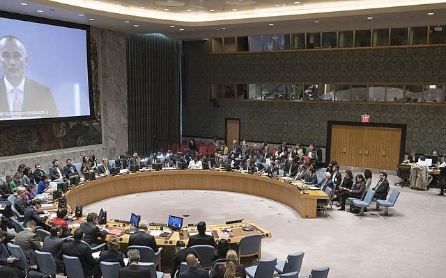 The United Nations  Security Council meeting on the situation in the Middle East, October 18, 2018. (Rick Bajornas/UN Photo)
