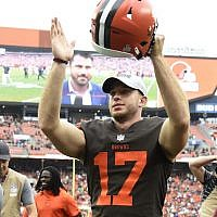 Greg Joseph celebrates after the Cleveland Browns defeated the Baltimore Ravens at FirstEnergy Stadium in Cleveland, October 7, 2018. (Jason Miller/Getty Images via JTA)