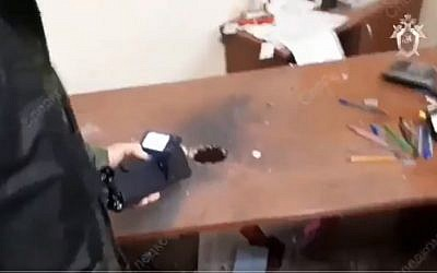 The aftermath of a bomb delivered to the office of Mikhail Skoblionok in Kazar, Tatarstan on October 15, 2018. (screen capture: Twitter)