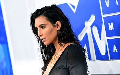 Kim Kardashian West attending the 2016 MTV Video Music Awards at Madison Square Garden in New York City, August 28, 2016. (Larry Busacca/Getty Images via JTA)