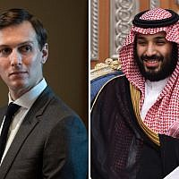 White House Senior Adviser Jared Kushner during a meeting in the Cabinet Room at the White House in Washington, DC on October 23, 2017. Right: Saudi Crown Prince Mohammed bin Salman attends a meeting with Lebanon's Christian Maronite patriarch on November 14, 2017, in Riyadh, Saudi Arabia. (Photos by Jabin Botsford/The Washington Post via Getty Images; Fayez Nureldine/AFP/Getty Images)