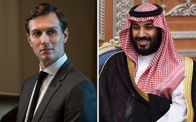Jared Kushner, left, is seen at a White House meeting, on October 23, 2017. Saudi Crown Prince Mohammed bin Salman attends a meeting with Lebanon's Christian Maronite patriarch in Riyadh, Saudi Arabia, on November 14, 2017. (Jabin Botsford/The Washington Post via Getty Images; Fayez Nureldine/AFP/Getty Images via JTA)