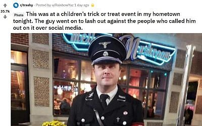A reddit post showing a photo of Bryant Goldbach at an October 25, 2018, Halloween trick-or-treating event dressed as an SS officer. (Reddit/u/RainbowYaz)