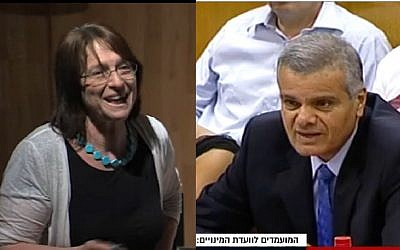 Talia Einhorn (l) and Moshe Tery. (Screen capture: YouTube/ Channel 10)