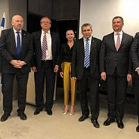 Russian and Israeli officials and business leaders meet at the launch of the Israel-Russia Chamber of Commerce in Jerusalem on October 9, 2018. From left: Russian deputy health minister Eugeny Kamkin,  Israeli Ambassador to Russia Gary Koren, Russian Ambassador to Israel Anatoly Viktorov, Chairwoman and CEO of the new chamber of commerce Anna Moshe, Environmental Protection and Jerusalem Affairs Minister Ze'ev Elkin, Russian Deputy Prime Minister Maxim Akimov and