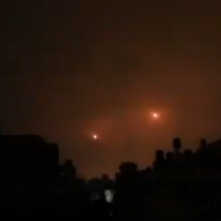 Video appears to show two rockets launched from the Gaza Strip following a lightning strike on October 17, 2018 (video screenshot)