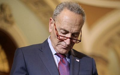 Chuck Schumer at a news conference following the weekly Senate Democratic policy luncheon at the US Capitol, October 2, 2018. (Chip Somodevilla/Getty Images/via JTA)