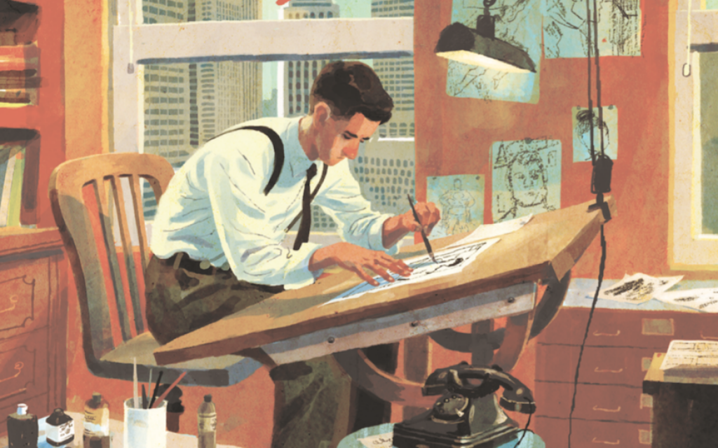 An image from the cover of 'The Joe Shuster Story: The Artist Behind Superman,' by Julian Voloj and illustrated by Thomas Campi. (Super Genius/via JTA)