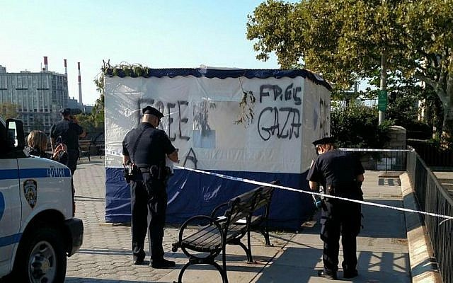 A vandalized sukkah in Manhattan, graffitied with the slogan 'Free Gaza,' September 30, 2018. (ADL/Twitter)