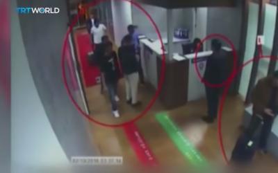 CCTV footage of said to show members of an elite Saudi 'assassination squad,' sent to kill critic Jamal Khashoggi (TRT Screenshot)