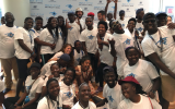 In September 2018, members of the Ugandan Jewish community participated in its first Birthright trip. Asiimwe Rabbin is in the foreground, center. (Birthright Israel via JTA)