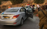 The scene of a deadly crash near the West Bank settlement of Beit Aryeh, October 21, 2018. (Magen David Adom)