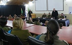 Outgoing Defense Minister Avigdor Liberman addresses soldiers during a farewell tour of the Gaza border region, November 16, 2018 (Ariel Hermoni/Defense Ministry)