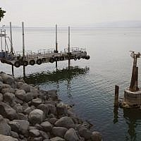 Photo shows the decline in the level of water in the Sea of Galilee, October 8, 2018. (JACK GUEZ/AFP)