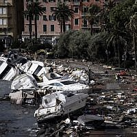 Destroyed yachts and boats lie in the harbour of Rapallo, near Genoa, on October 30, 2018, after a storm hit the region and destroyed a part of the dam the night before. (MARCO BERTORELLO / AFP)