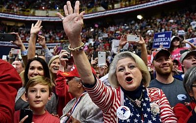 "Supporters of US President Donald Trump cheer during a ""Make America Great Again"" campaign rally at McKenzie Arena, in Chattanooga, Tennessee, on November 4, 2018. (Nicholas Kamm/AFP)"