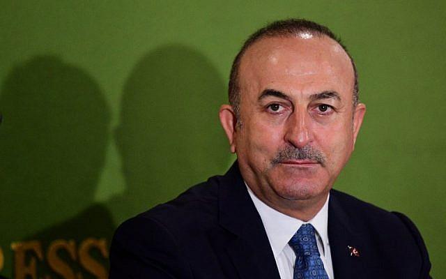 Turkey's Foreign Affairs Minister Mevlut Cavusoglu holds a press conference in Tokyo on November 6, 2018. (Martin BUREAU / AFP)