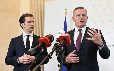 Austrian Chancellor Sebastian Kurz, left, and Defense Minister Mario Kunasek give a press conference in Vienna, Austria, on November 9, 2018, to comment on the case of a retired colonel in the Austrian army suspected of having spied for Russia for several decades. (Helmut Fohringer/APA/AFP)