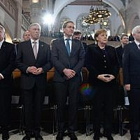 (L-R) Former German president Christian Wulff, former German president Joachim Gauck, former German president Horst Koehler, the current president of the Bundesrat (upper house of parliament) Daniel Guenther, German Chancellor Angela Merkel, the president of the Central Council of Jews in Germany Josef Schuster and  Wolfgang Schaeuble, president of the Bundestag (lower house of parliament), arrive to attend a ceremony at the Synagogue Rykestrasse in Berlin on November 9, 2018 to commemorate the 80th anniversary of the Kristallnacht Nazi pogrom. (John MacDougall/AFP)
