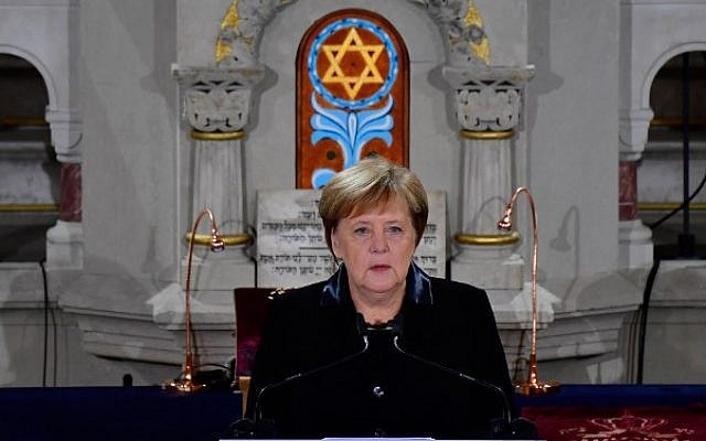 German Chancellor Angela Merkel speaks during a ceremony at the Synagogue Rykestrasse in Berlin on November 9, 2018 to commemorate the 80th anniversary of the Kristallnacht Nazi pogrom. (Tobias Schwarz/AFP)