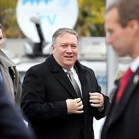US Secretary of State Mike Pompeo arrives to a ceremony at the Arc de Triomphe in Paris on November 11, 2018 as part of commemorations marking the 100th anniversary of the 11 November 1918 armistice, ending World War I. (Photo by ludovic MARIN / POOL / AFP)
