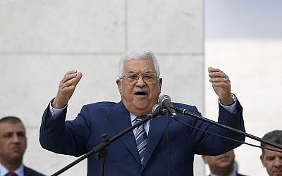 Palestinian Authority President Mahmoud Abbas gives a speech after laying a wreath at the tomb of late Palestinian leader Yasser Arafat in the West Bank city of Ramallah on November 11, 2018. (Abbas Momani/AFP)