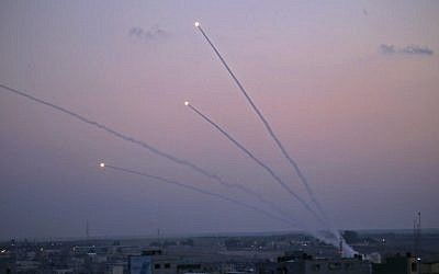 Illustrative. A picture taken from the Gaza Strip on November 12, 2018, shows missiles being launched toward Israel. (Said KHATIB / AFP)