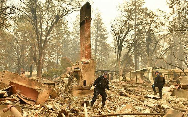 Alameda County Sheriff Coroner officers search for human remains at a burned residence in Paradise, California on November 12, 2018. (Josh Edelson/AFP)