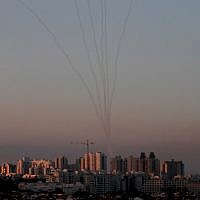 Missiles from the Iron Dome air defense system in the south of Israel destroy incoming missiles above Ashkelon fired from the Gaza Strip  on November 13, 2018. (Gil Cohen-Magen/AFP)