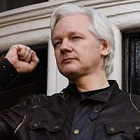 In this file photo from May 19, 2017, Wikileaks founder Julian Assange speaks on the balcony of the Embassy of Ecuador in London. (Justin Tallis/AFP)