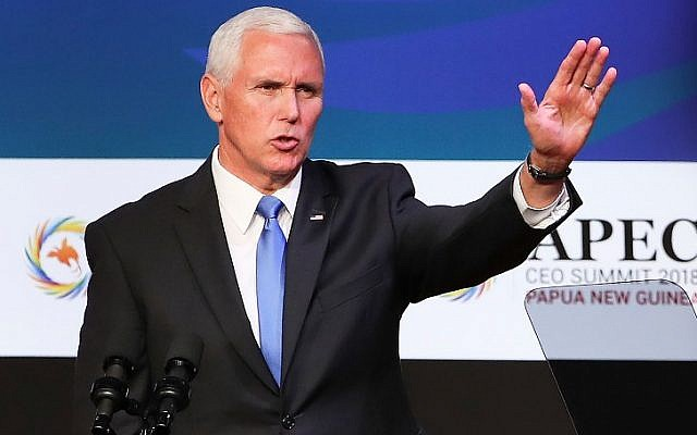 US Vice President Mike Pence gestures at the APEC CEO Summit 2018 in Port Moresby on November 17, 2018 (Fazry ISMAIL / POOL / AFP)