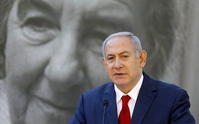 Israeli Prime Minister Benjamin Netanyahu speaks during a state memorial ceremony for his late predecessor Golda Meir at Mount Herzl in Jerusalem on November 18, 2018. (Photo by Menahem KAHANA / AFP)