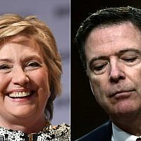 (COMBO) This combination of file pictures created on June 14, 2018, shows former Secretary of State Hillary Clinton on June 1, 2017 in New York; and former FBI Director James Comey  on Capitol Hill June 8, 2017 in Washington, DC. - US President Donald Trump wanted prosecutions opened against Clinton and Comey, according to a report in The New York Times on November 20, 2018. (Photos by ANGELA WEISS and Brendan Smialowski / AFP)