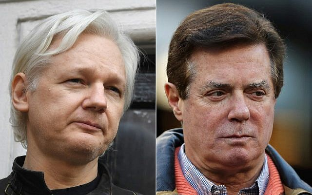 This combination of pictures created on November 27, 2018, shows a file photo taken on May 19, 2017, of Wikileaks founder Julian Assange(L) at the Embassy of Ecuador in London, and former Donald Trump presidential campaign manager Paul Manafort  at Yankee Stadium on October 17, 2017, in New York. (Justin Tallis and Elsa/Various Sources/AFP)