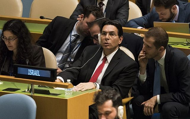 In this file photo taken on June 13, 2018 Israel's Ambassador to the United Nations Danny Danon listens to speakers before a vote to condemn Israeli actions in Gaza, in the General Assembly in New York. (Don Emmert/AFP)