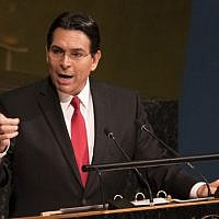 In this photo from June 13, 2018, Israel's Ambassador to the United Nations Danny Danon speaks to the General Assembly before a vote to condemn Israeli actions in East Jerusalem and the West Bank, at UN headquarters in New York. (Don Emmert/AFP)