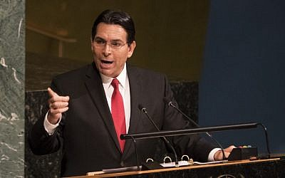 In this file photo taken on June 13, 2018 Israel's Ambassador to the United Nations Danny Danon speaks to the General Assembly before a vote to condemn Israeli actions in East Jerusalem and the West Bank, in the General Assembly in New York. (Don Emmert/AFP)