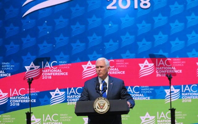 US Vice President Mike Pence addresses the Israeli American Council on Nov. 30 2018 (Ron Kampeas/JTA)