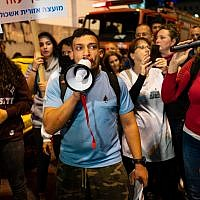 Southern residents protest in Tel Aviv over lack of security for communities in the south living under the shadow of Hamas rockets and attacks. (Luke Tress/Times of Israel)