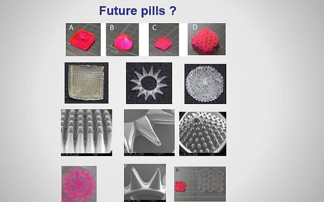 An illustration of the various kinds of 3D printed hydrogel pills developed the lab of Prof. Shlomo Magdassi, head of The Hebrew University's 3D and Functional Printing Center (Courtesy)